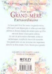 Pour Une Grand-Mere Extraordinaire (édition 2004) - 4ème de couverture - Format classique