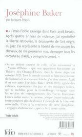 Josephine Baker - 4ème de couverture - Format classique