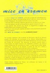 Les Epreuves De Logique Et De Mathematiques Aux Concours Des Ecoles De Commerce Acces Ipag Sesame - 4ème de couverture - Format classique