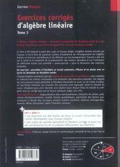 Exercices corrigés d'algèbre linéaire t.2 - 4ème de couverture - Format classique