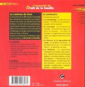 Essentiel Du Droit De La Famille, 4eme Edition (L') - 4ème de couverture - Format classique