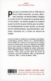 Introduction à la lecture de Kafka - 4ème de couverture - Format classique