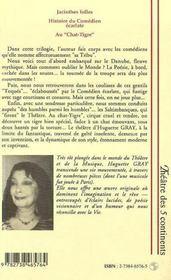 Jacinthes Folles ; L'Histoire Du Comedien Ecarlate ; Au Chat-Tigre - 4ème de couverture - Format classique