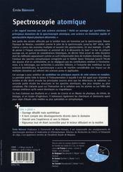 Spectroscopie atomique ; instrumentation et structures atomiques - 4ème de couverture - Format classique