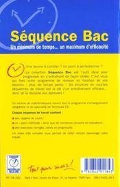 Mathematiques terminale es ; enseignement obligatoire et de specialite - 4ème de couverture - Format classique