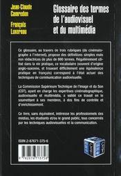 Glossaire Des Termes De L'Audiovisuel - 4ème de couverture - Format classique