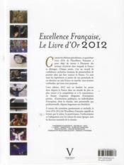 Excellence française : livre d'or 2012 - 4ème de couverture - Format classique