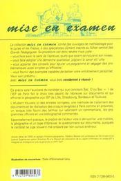 L'Epreuve De Geographie A Sciences Po Iep De Pariset Province (Entree En 1re Et 2e Annee) - 4ème de couverture - Format classique