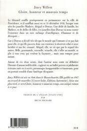 Gloire, Honneur Et Mauvais Temps - 4ème de couverture - Format classique
