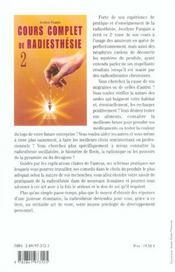 Cours Complet De Radiesthesie T.2 - 4ème de couverture - Format classique