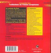 Essentiel Des Institutions De L'Union Europeenne, 8eme Edition - 4ème de couverture - Format classique