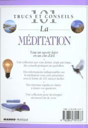 La méditation - 4ème de couverture - Format classique