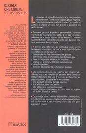 Diriger Une Equipe. Les Cles Du Succes. 101 Methodes, Outilset Conseils - 4ème de couverture - Format classique