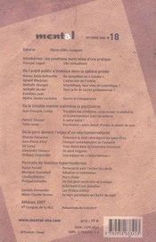 Revue Mental T.18 ; Psychanalyse Et Ordre Public - 4ème de couverture - Format classique