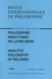 Revue Internationale De Philosophie N.225 ; Philosophie Analytique De La Religion (édition 2003) - Intérieur - Format classique
