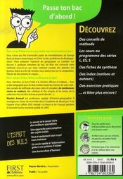 Le Bac Geographie Pour Les Nuls (edition 2007) - 4ème de couverture - Format classique