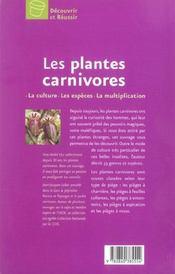 Les Plantes Carnivores - 4ème de couverture - Format classique