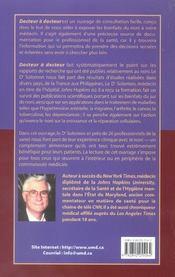 Docteur A Docteur - Le Jus De Noni Intrigue - 4ème de couverture - Format classique