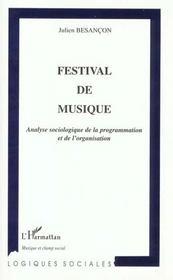 Festival De Musique ; Analyse Sociologique De La Programmation Et De Lorganisation - Intérieur - Format classique