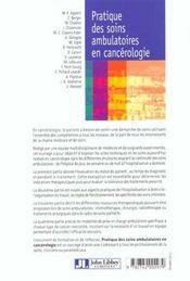 Pratique Soins Ambu En Cancerologie - 4ème de couverture - Format classique