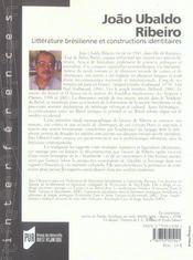 Joao Ubalbo Ribeiro La Problematique Identitaire Dans La Litterature Bresilienne - 4ème de couverture - Format classique