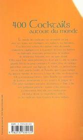 400 Cocktails Autour Du Monde - 4ème de couverture - Format classique