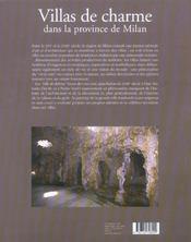 Villas De Charme Dans La Province De Milan - 4ème de couverture - Format classique
