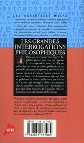 Grandes Interrogations Philosophiques (Les) - 4ème de couverture - Format classique