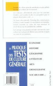 Pratique tests culture generale (poche) - 4ème de couverture - Format classique
