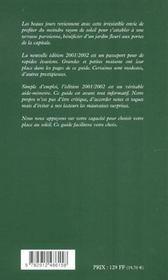 Restaurants Avec Terrasses Et Jardins De Paris Ile-De-France ; Edition 2001-2002 - 4ème de couverture - Format classique