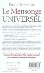 Le mensonge universel - 4ème de couverture - Format classique