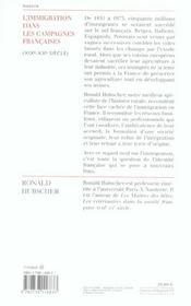 L'immigration dans les campagnes francaises - 4ème de couverture - Format classique