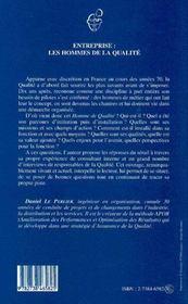 Entreprise : Les Hommes De La Qualite - 4ème de couverture - Format classique