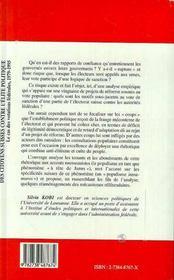 Des Citoyens Suisses Contre L'Elite Politique ; Le Cas Des Votations Federales 1979-1995 - 4ème de couverture - Format classique