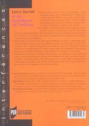 Lewis Carroll Et Les Mythologies De L Enfance - 4ème de couverture - Format classique
