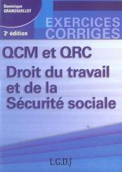 Qcm et qrc. droit du travail et de la securite sociale, 3eme edition - Intérieur - Format classique