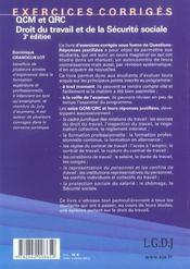 Qcm et qrc. droit du travail et de la securite sociale, 3eme edition - 4ème de couverture - Format classique