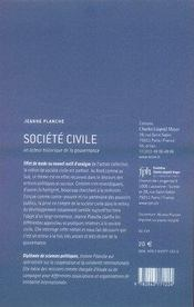 Société civile ; un acteur historique de la gouvernance - 4ème de couverture - Format classique