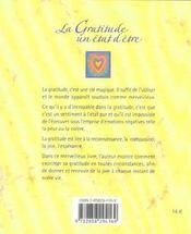 La Gratitude : Un Etat D'Etre - 4ème de couverture - Format classique