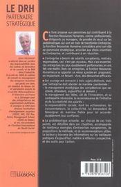 Le Drh : Partenaire Strategique. Pour Des Salaries : Competents, Motives, Respon - 4ème de couverture - Format classique