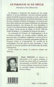 Le Paraguay Au Xx Siecle - 4ème de couverture - Format classique