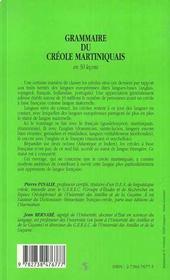 Grammaire du créole martiniquais en cinquante leçons - 4ème de couverture - Format classique