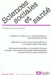Revue sciences sociales et sante t.17 n.4 - Intérieur - Format classique