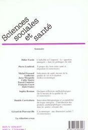 Revue sciences sociales et sante t.17 n.4 - 4ème de couverture - Format classique