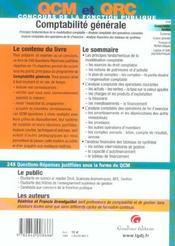 Qcm-Qcr. Comptabilite Generale, 2eme Edition - 4ème de couverture - Format classique