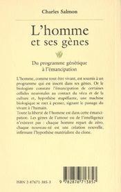 L'Homme Et Ses Genes - 4ème de couverture - Format classique