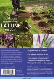 Calendrier lunaire « jardiner avec la lune en 2013 » - 4ème de couverture - Format classique