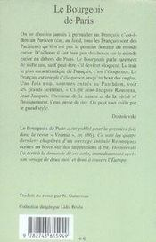 Le bourgeois de paris - 4ème de couverture - Format classique