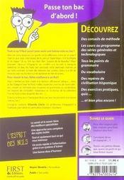 Le Bac Espagnol Pour Les Nuls - 4ème de couverture - Format classique