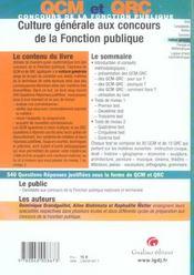 Qcm Culture Generale Concours De La Fonction Publique - 4ème de couverture - Format classique